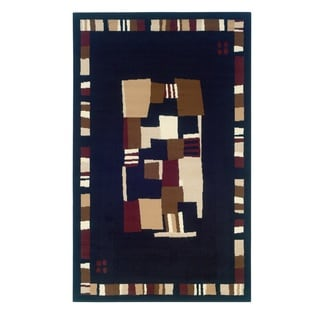 Capri Black/ Brown Area Rug (4'3 x 7'3)