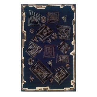 Linon Capri Black/ Brown Area Rug (4'3 x 7'3)