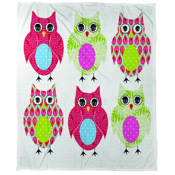 Thumbprintz Owls Coral Fleece Throw