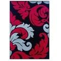 Linon Corfu Collection Black/ Red Area Rug (8' x 10'3)