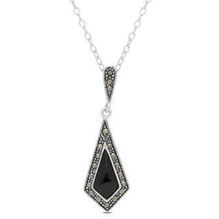 Dolce Giavonna Silverplated Black Onyx and Marcasite Necklace