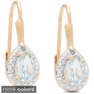 Dolce Giavonna 14k Gold Overlay Gemstone and Diamond Accent Teardrop Leverback Earrings