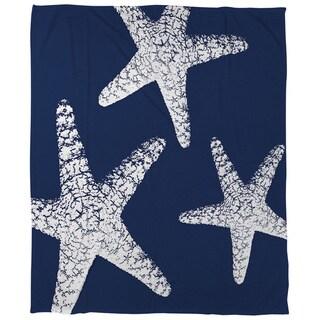 Thumbprintz Nautical Nonsense White Blue Starfish Coral Fleece Throw