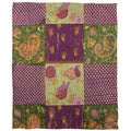Thumbprintz Purple Paisleys and Dots Coral Fleece Throw