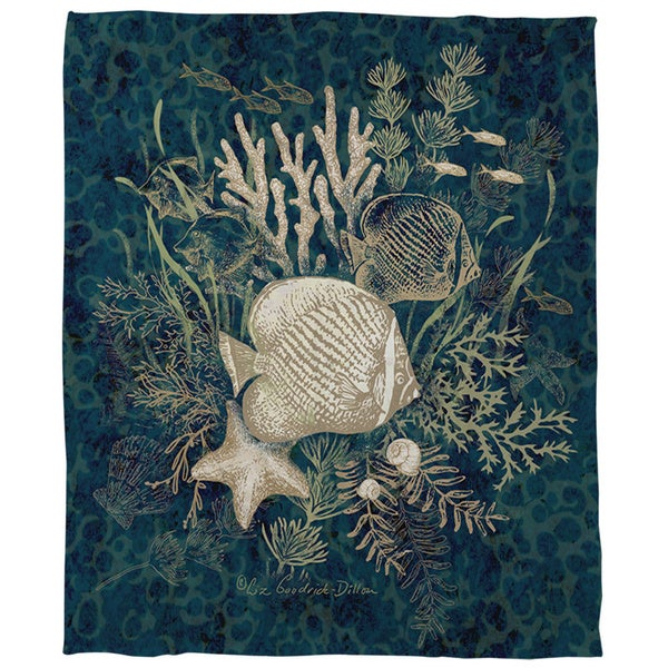 Thumbprintz Fish Vignette Coral Fleece Throw