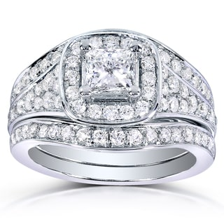 Annello 14k White Gold 1 2/5ct TDW Princess-cut Diamond 3-piece Bridal Ring Set (H-I, I1-I2)