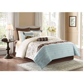 Madison Park Temsia Blue 12-Piece Charmeuse Comforter Set