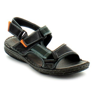 J's Awake Men's 'Marcos-01' Black Rafting Backstrap Dress Sandals