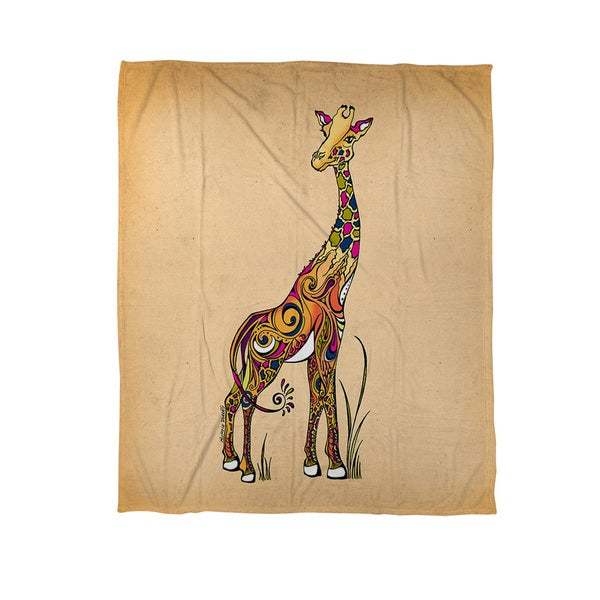 Thumbprintz Giraffe Coral Fleece Throw