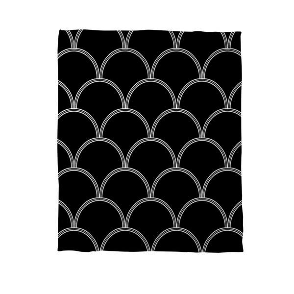 Thumbprintz Art Deco Circles Black/ White Coral Fleece Throw