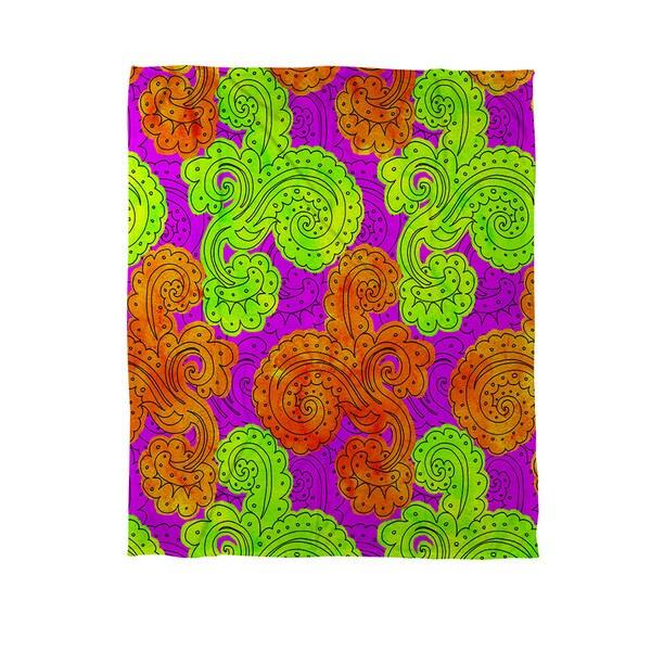 Thumbprintz Funky Florals Paisley Fuchsia Coral Fleece Throw