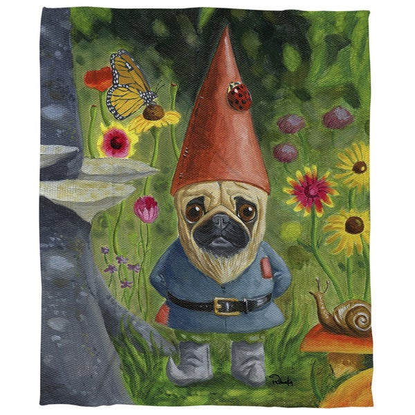 Thumbprintz Pug Gnome Coral Fleece Throw