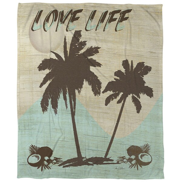 Thumbprintz Love Life Coral Fleece Throw