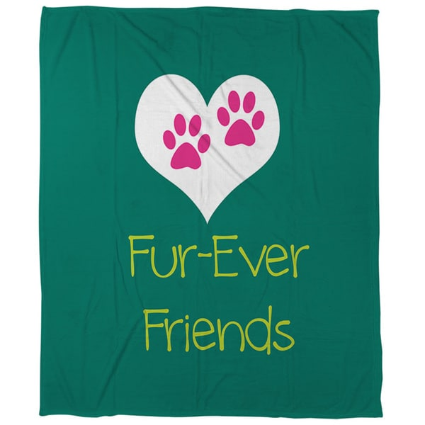 Thumbprintz Forever Friends Teal Coral Fleece Throw