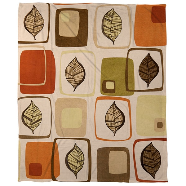 Thumbprintz Deco Leaves Coral Fleece Throw