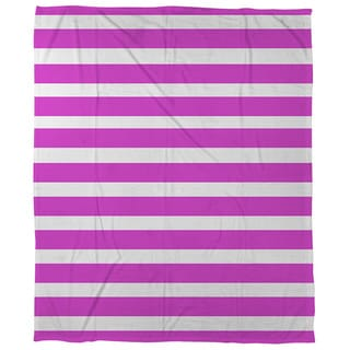 Thumbprintz Bright Stripes Pink Coral Fleece Throw