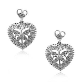 Gioelli Sterling Silver 1/10ct TDW Diamond Vintage Heart Earrings (H-I, I2-I3)