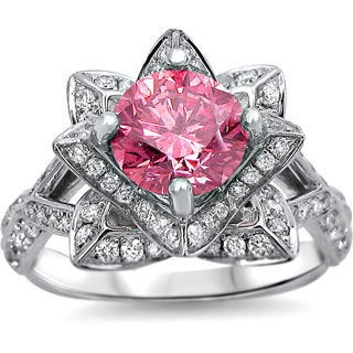 Noori 14k White Gold 2ct TDW Pink Round Diamond Lotus Flower Ring (SI1-SI2)
