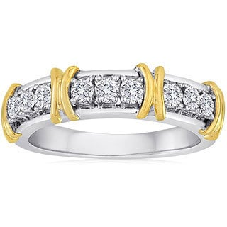 14k Yellow Gold and Sterling Sliver 3/8ct TDW Two-tone Diamond Band (H-I, I2-I3)