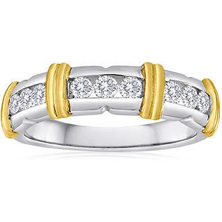 14k Yellow Gold/Sterling Silver 1/2ct TDW Diamond Band (H-I, I2-I3)
