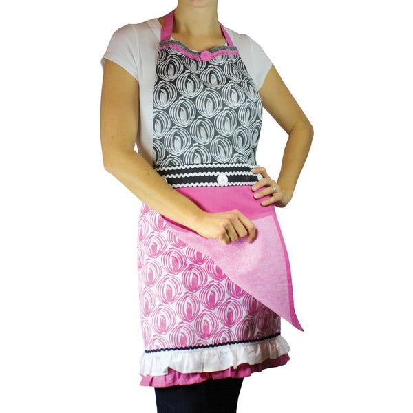 MUkitchen Onion Print Apron and Kitchen Towel Set