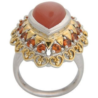 Sterling Silver Peach Moonstone and Hessonite Garnet Ring