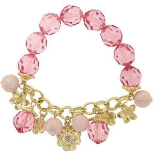 1928 Goldtone Pink Beaded Flower Charm Stretch Bracelet