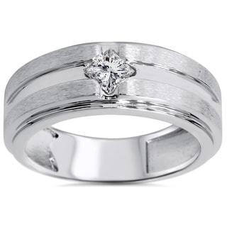 14k White Gold 2/5ct TDW Men's Diamond Wedding Band (H-I, I1-I2)