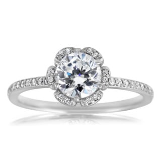 Bliss 14k White Gold 1 1/2ct TDW Vintage Floral Halo Ring (H-I, I1-I2)