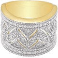 Finesque Yellow Gold Over Sterling Silver Diamond Accent Ring