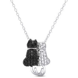 Finesque Silverplated Black Diamond Accent Cat Necklace