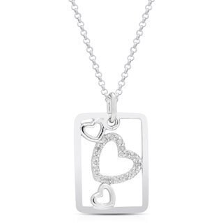 Finesque Sterling Silver 1/6ct TDW White Diamond Heart Necklace (I-J, I2-I3)