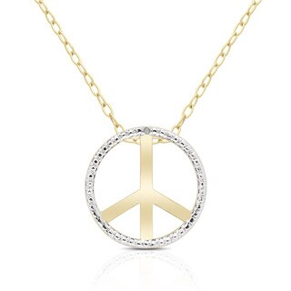 Finesque 14k Gold Overlay Diamond Accent Peace Sign Necklace