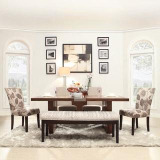 INSPIRE Q Malden Chrome and Light Grey Inset 6-piece Dining Set