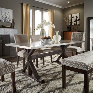INSPIRE Q Trumbull Stainless Steel and Grey 6-piece Dining Set