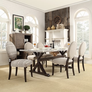 INSPIRE Q Trumbull Stainless Steel Round-back 7-piece Dining Set