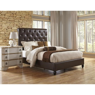 Tufted Dark Brown Faux Leather Queen Size Upholstered Sleigh Bed