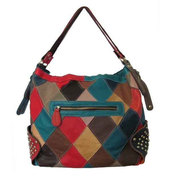Amerileather 'Aubrey' Rainbow Patchwork Leather Handbag