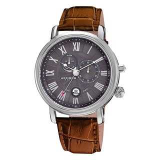 Akribos XXIV Men's Leather Strap Swiss Collection Multifunction Watch