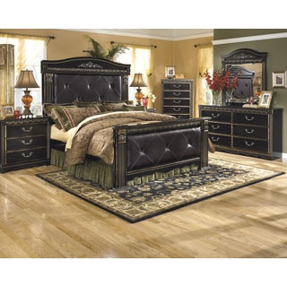 Signature Designs by Ashley Coal Creek Dark Brown Faux Leather Poster Bed