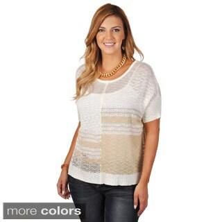 Tressa Women's Contemporary Plus Two-tone Short-sleeve Sweater