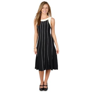 Timeless Comfort by Journee Women's Black and White Sleeveless A-line Dress