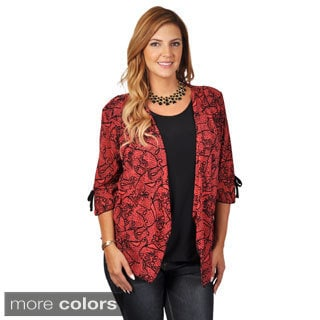 Tressa Collection Women's Contemporary Plus Layered Print Top