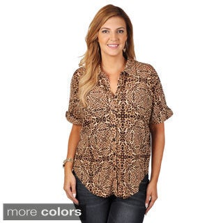 Tressa Collection Women's Plus Animal Print Button-up Top
