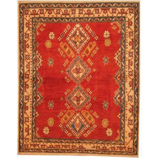 Herat Oriental Afghan Hand-knotted Kazak Red/ Beige Wool Rug (3'11 x 4'11)