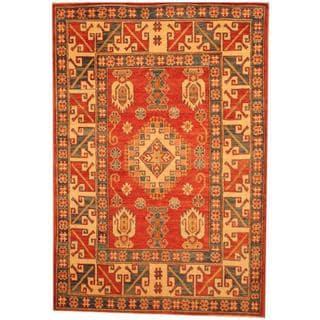 Herat Oriental Afghan Hand-knotted Kazak Red/ Beige Wool Rug (4'5 x 6'5)