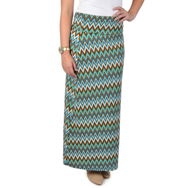 Hailey Jeans Co. Junior's Fold-over Chevron Print Maxi Skirt