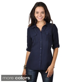 Hailey Jeans Co. Junior's Roll-sleeve Button-up Top