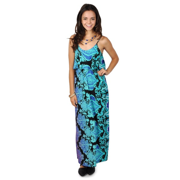 Hailey Jeans Co. Junior's Spagetti Strap Ruffled Maxi Dress