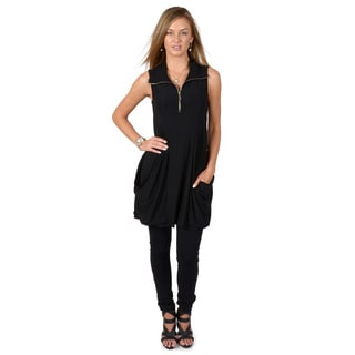 Timeless Comfort by Journee Women's Black Sleeveless Zipper Tunic Top